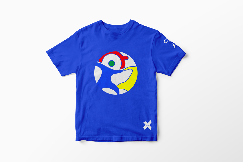 T-Shirt Blu logo colorato